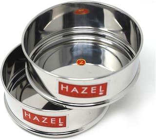 Hazel Alfa Stainless Steel Stackable Seperator, Cooker Dabba for 5 Ltr Pressure Cooker - 15 cm, Set of 2
