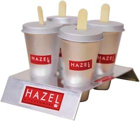 Hazel Aluminium Kulfi Ice Cream Mould Set Of 4 With Stand & 12 Ice Cream Sticks
