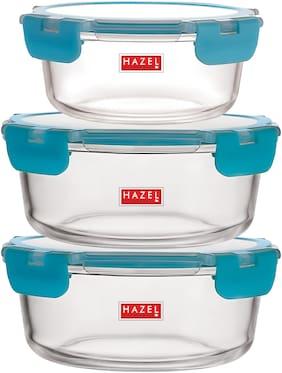 Hazel 950 ml Transparent & Blue Glass Container Set - Set of 3
