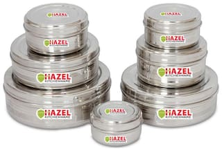 Hazel 8150 ML Silver Stainless steel Container Set - Set of 7
