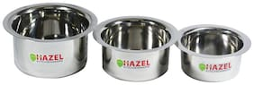 Hazel Mini Round Bottom Cooking Patila/tope, Stainless Steel, Silver, Set Of 3
