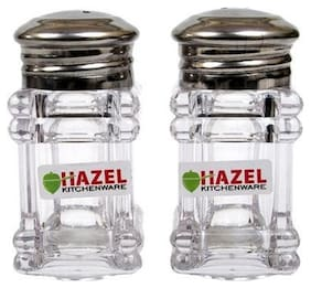 Hazel Salt Pepper Container- Square, Stainless Steel, Silver