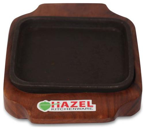 Hazel Sizzling Brownie Plate / Tray With Wooden Base Square 12.7 cm