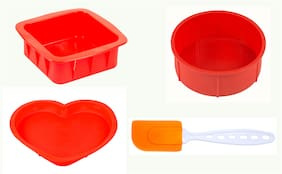 HAZEL Small Silicon 3 pcs Square;Round and Heart Shape Cake Mould for Half kg with Silicon Spatula