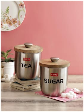 Hazel Stainless Steel Sugar And Tea Jar Storage Canister Container;Set Of 2;1325 Ml;Silver