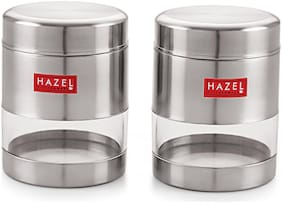 HAZEL Stainless Steel Transparent Matt Finish See Through Container;Silver;Set Of 2,400 ml