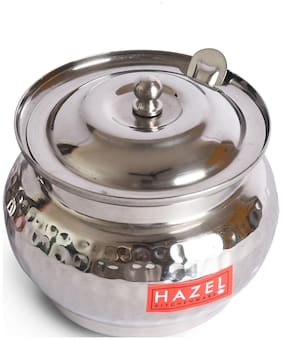 Hazel Stainless Steel Ghee Pot Hammered Finish Oil Container, 250ml, Silver