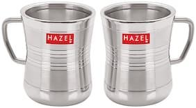 HAZEL Stainless Steel Green Tea Coffee Big Damaru Plain Mug, Set of 2, 200 ml (Each)