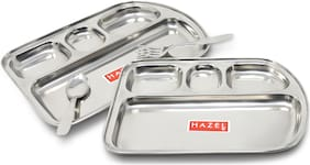 Hazel Stainless Steel Idli Vada Dosa Mess Plate Set of