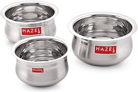 HAZEL Stainless Steel Flat Bottom Premium Unique Design Belly Patila Set of 3 Pc;1.1 Ltr to 1.9 Ltr;Silver