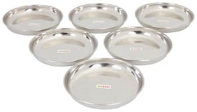 Hazel Stainless Steel Serving Plate Set Of 6, 17 cm X 2.5 cm, 425 ml