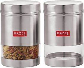 Hazel Stainless Steel Transparent See Through Container Set Of 2;Silver;600 ml Each