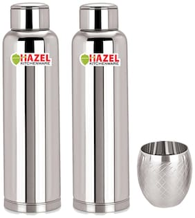 Hazel Stainless Steel Silver Water Bottle ( 900 ml , Set of 2 )