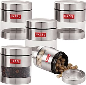 Hazel Stainless Steel Transparent See Through Container Set Of 5;Silver;350 ml Each