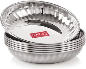 HAZEL Stainless Steel Serving Sweet Dish Dessert Plate,Set of 6,200 ml Each,Silver