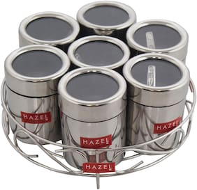 Hazel Stainless Steel Classic 7 In 1 Masala & Dry Fruit Stand With See Through Lid