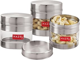 Hazel Stainless Steel Transparent See Through Container Set Of 3;Silver;300 ml Each