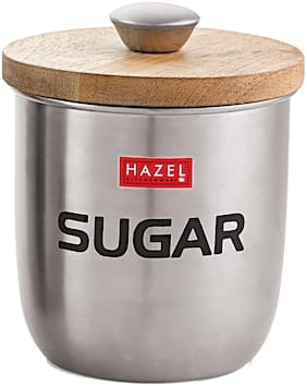 Hazel Stainless Steel Sugar Jar Storage Canister Container;1325 Ml;Silver
