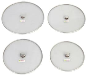 Hazel Stainless Steel Container Cover Lids Set of 4, 18 cm, 20.2 cm, 23 cm, 25.5 cm, Silver