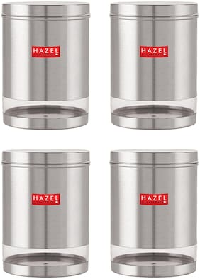 Hazel Stainless Steel Grocery Container Set of 4 ( 3000 ml , Silver )