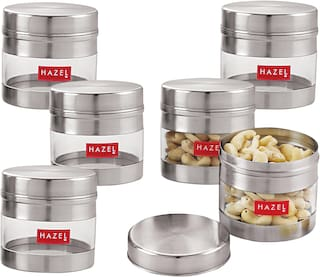 Hazel Stainless Steel Transparent See Through Container Set Of 6;Silver;300 ml Each