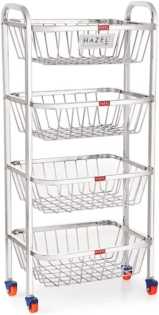 Buy Hazel Stainless Steel Fruit Vegetable Basket Kitchen Storage Trolley Rack Rectangle Stand With Wheel Online At Low Prices In India Paytmmall Com