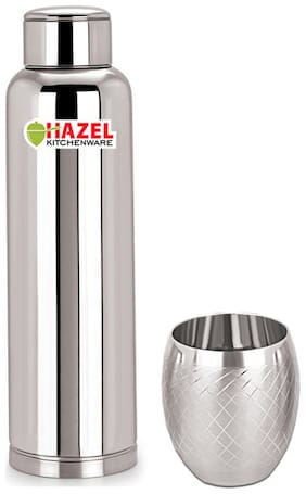 Hazel Stainless Steel Silver Water Bottle ( 900 ml , Set of 1 )