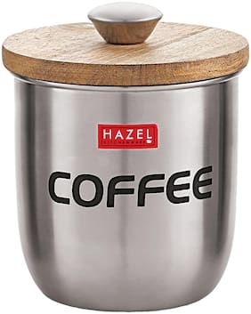 Hazel Stainless Steel Coffee Jar Storage Canister Container;1325 Ml;Silver