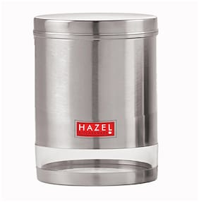 HAZEL Stainless Steel Transparent Wide Mouth See Through Container;Silver;1 pc;1350 ml