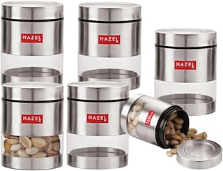 Hazel Stainless Steel Transparent See Through Container Set Of 6;Silver;450 ml Each