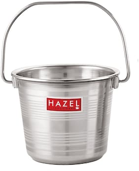HAZEL Stainless Steel RT Non Joint Leak Proof Water Storage Bucket;4 Ltr;Silver