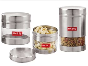 Hazel Stainless Steel Transparent See Through Container Set Of 3;Silver;300 ml - 600 ml Each