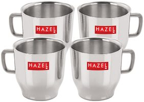 HAZEL Stainless Steel Green Tea Coffee Small Classic Cup, Set of 4, 75 ml (Each)