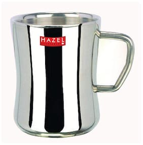 HAZEL Stainless Steel Green Tea Coffee Big Damaru Plain Mug, 1 pc, 200 ml