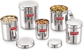 Hazel Stainless Steel Grocery Container Set Of 5;1 To 3 Ltr;Silver