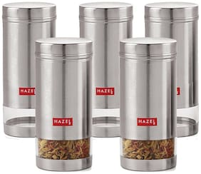Hazel 950 ml Silver Stainless steel Container Set - Set of 5
