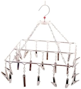 Hazel Stainless Steel Square Hanger With 24 Clips