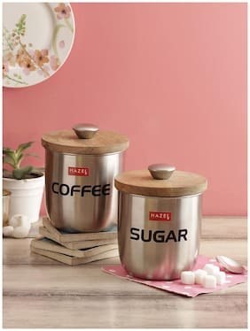 Hazel Stainless Steel Sugar And Coffee Jar Storage Canister Container;Set Of 2;1325 Ml;Silver