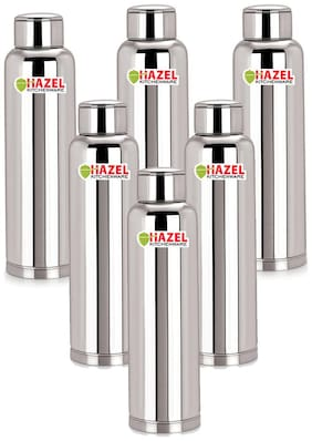 Hazel 900 ml Stainless Steel Silver Water Bottles - Set of 6