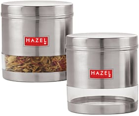 HAZEL Stainless Steel Transparent Wide Mouth See Through Container;Silver;Set Of 2,1100 ml