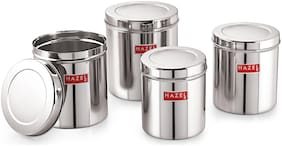 Hazel Stainless Steel Grocery Container Set Of 4;3.6 To 7 Ltr;Silver