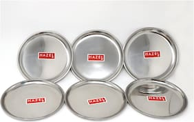 Hazel Stainless Steel Dinner Plates with Mirror Finish  Diameter 21 cm - Set of 6pc