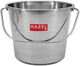 Hazel Stainless Steel Non Joint Leak Proof Water Storage Bucket;7.3 L;Silver