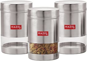 Hazel Stainless Steel Transparent See Through Container Set Of 3;Silver;600 ml Each