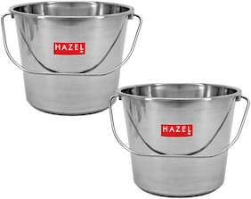 Hazel Stainless Steel Non Joint Leak Proof Water Storage Bucket Set Of 2;10 L;Silver