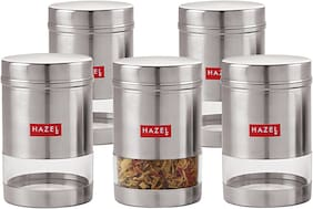 Hazel Stainless Steel Transparent See Through Container Set Of 5;Silver;600 ml Each