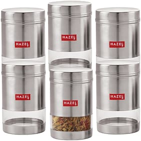 Hazel Stainless Steel Transparent See Through Container Set Of 6;Silver;600 ml Each