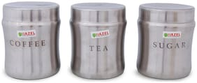 Hazel Stainless Steel Tea Coffee Sugar Container Set of 3, Silver