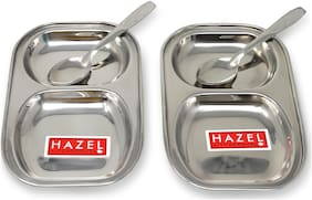 Hazel Stainless Steel Rectangle Dinner Plate with 2 Sections Divided Mess Trays  Set of 2 (2 Spoons)