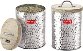 Hazel 2250 ml Silver Stainless steel Container Set - Set of 2